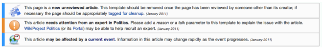 The three cleanup tags automatically appended to the article when it was published at UTC 13:27 on 25 January, 2011